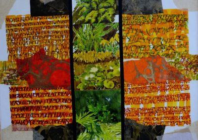 3Solstice - 90x90 cm (encres et papier sur toile)