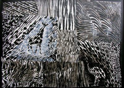 4Biotope 1 - 73x100cm (encre et papier sur toile)