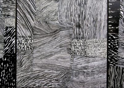 6Triptyque Ondes - 80 x 160 cm (encres et papier sur toile)
