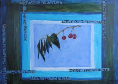 7Branche de Cerisier - 60 x 92 cm (huile et collages sur toile)